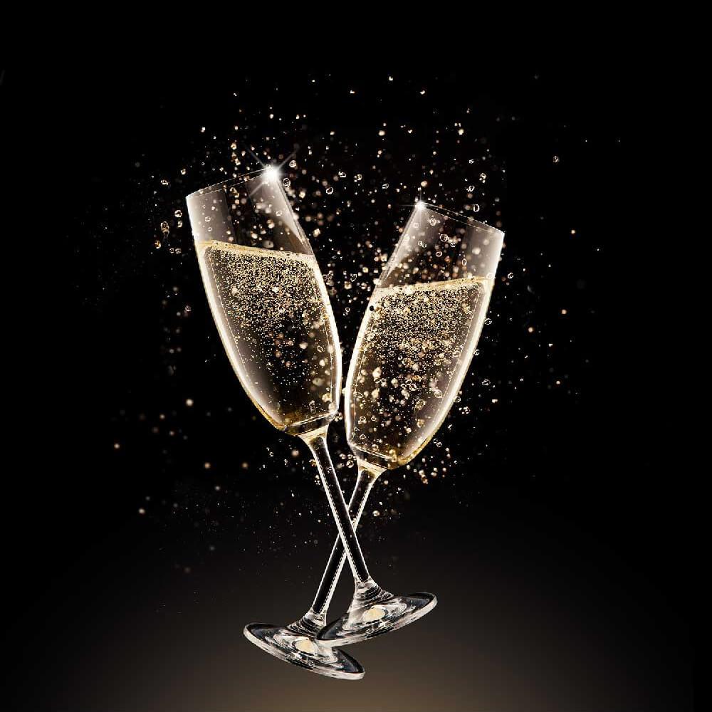 Oro alimentare edibile e drink champagne